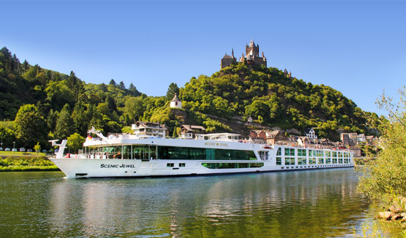 Cruise past fairytale castles and terraced vineyards on the River Rhine